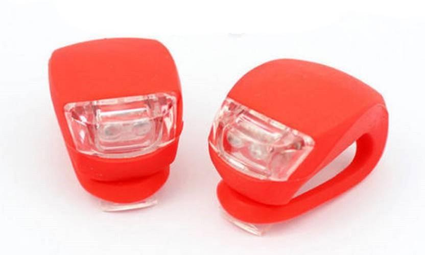 2 PCS LED SILICONE MOUNTAIN BIKE BICYCLE FRONT /& REAR LIGHTS KIT SET WHITE /& RED