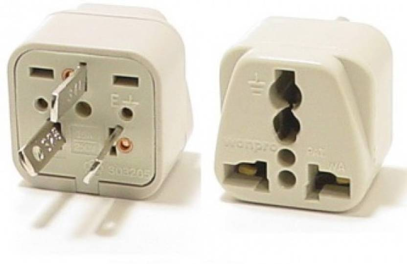 Gadget Wagon India To Usa America Canada 3 Pin Converter Plug Adapter 6 16a 1 Socket Surge Protector White