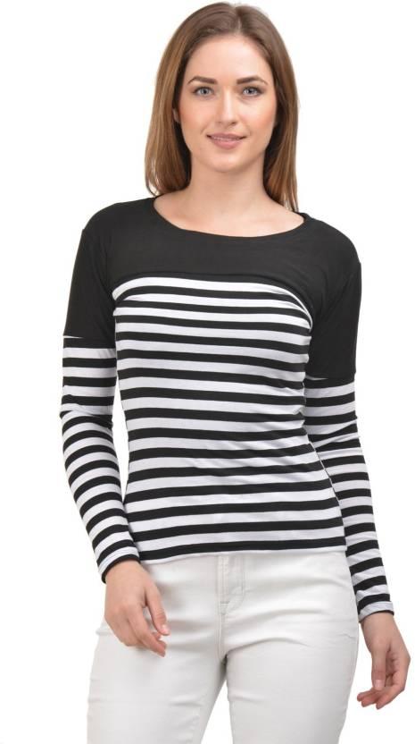 a1a6d3ab3c9 Raabta Fashion Striped Women Round Neck Black, White T-Shirt - Buy Raabta  Fashion Striped Women Round Neck Black, White T-Shirt Online at Best Prices  in ...