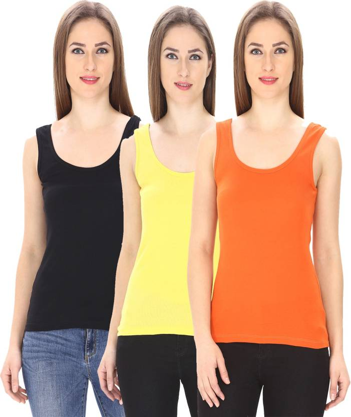 29d7c4fba48c88 Friskers Casual Sleeveless Solid Women s Multicolor Top - Buy Friskers Casual  Sleeveless Solid Women s Multicolor Top Online at Best Prices in India ...