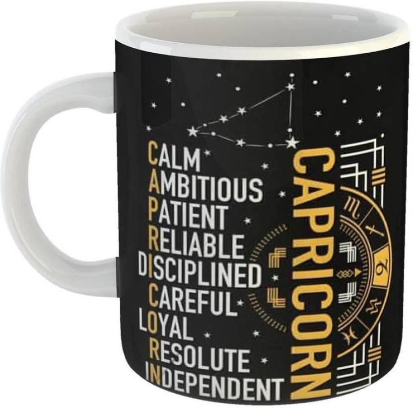 GiftOwl Capricorn Happy Birthday gift present Coffee for Friend, Girlfriend & BoyFriend Glossy Finish With Vibrant Print Ceramic Mug (350 ml)