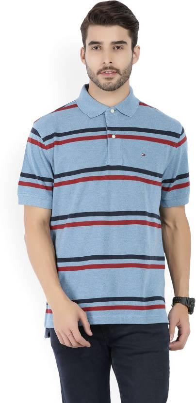 0d984750 Tommy Hilfiger Striped Men's Polo Neck Blue T-Shirt - Buy Blue Tommy  Hilfiger Striped Men's Polo Neck Blue T-Shirt Online at Best Prices in India  ...