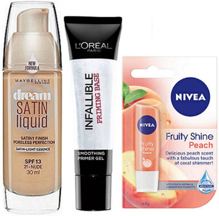 441fab0e942 Maybelline Dream Satin Liquid Foundation, Loreal Infallible Primer & Nivea  Peach Lip Balm (Set of 3)