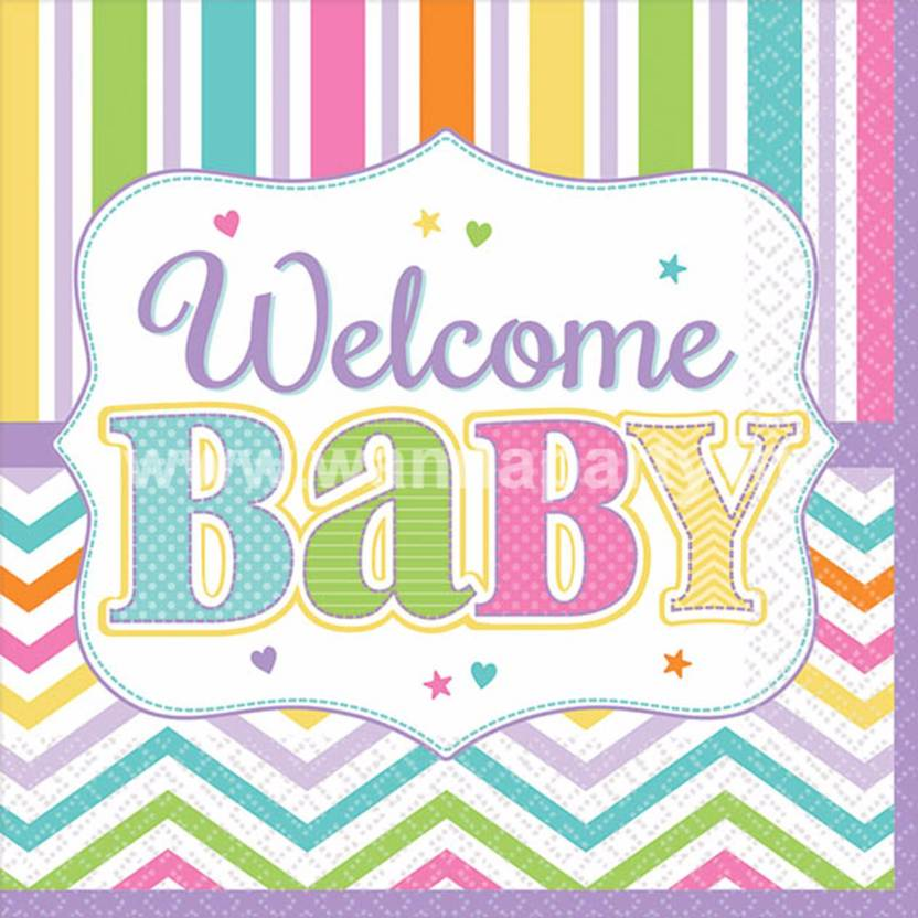 wanna party welcome baby shower dessert napkins 18pc multicolor