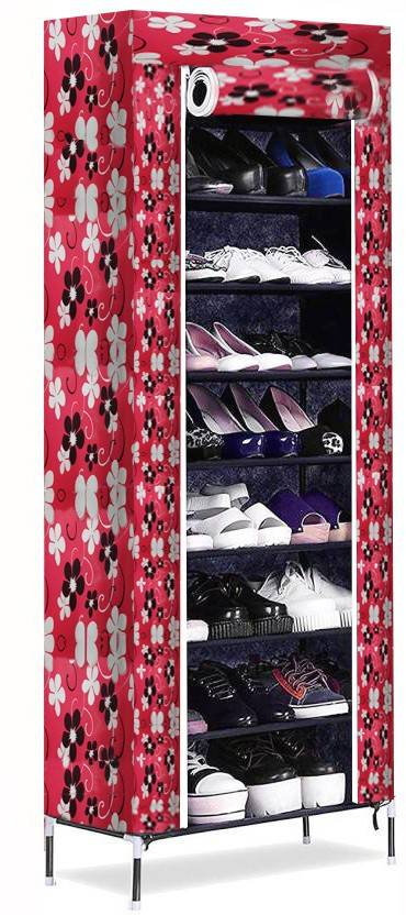 ShopyBucket Metal Collapsible Shoe Stand Multicolor, 8 Shelves