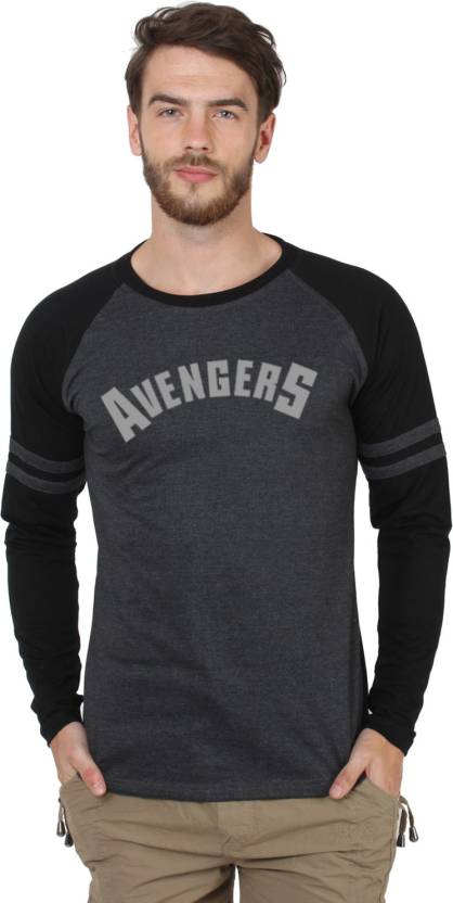 Marvel Superhero, Printed Mens Round Neck Black T-Shirt