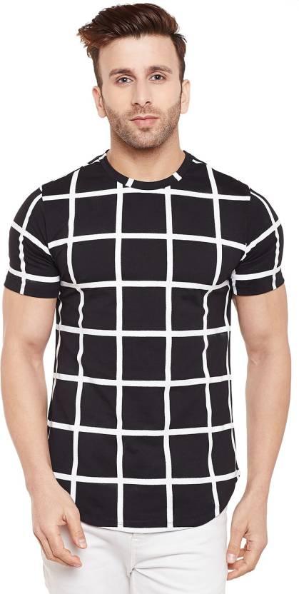 954877fae077 Le Bourgeois Checkered Men Round Neck Black, White T-Shirt - Buy Le ...