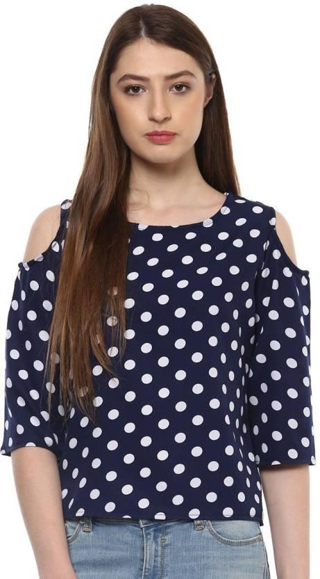 f04ab2550f8 Indietoga Casual 3 4th Sleeve Polka Print Women s Blue Top - Buy Blue  Indietoga Casual 3 4th Sleeve Polka Print Women s Blue Top Online at Best  Prices in ...