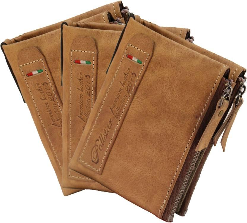 e452e4c9a19e POLLSTAR Men Tan Genuine Leather Wallet Tan - Price in India ...