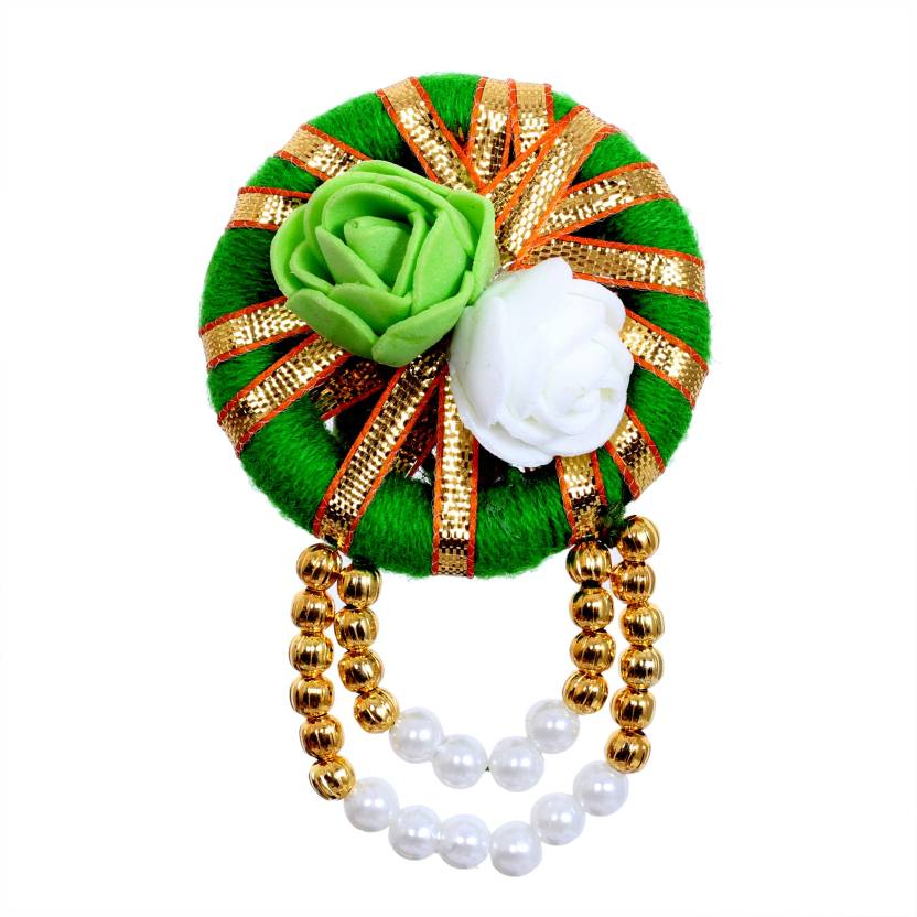 ca3474059fa saraa Dazzling Coloured Pearl Latkan Green Gota Patti Febric Sari Pin for  Girls/Women Brooch (Green, White)
