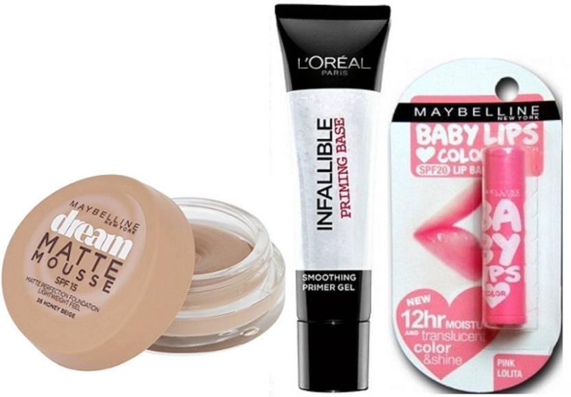 150cc6468b6 Maybelline Dream Matte Mousse Foundation, Loreal Paris Infallible Primer &  Pink Lolita Lip Balm (Set of 3)