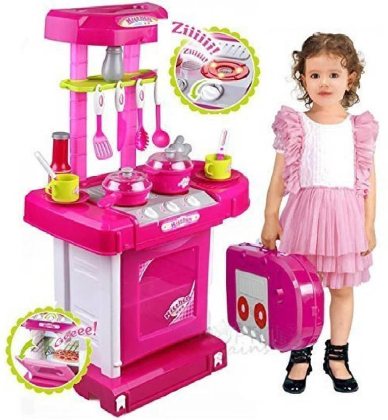 M Alive Big Pretend Play Doll House Kitchen Set With Sound And Flame