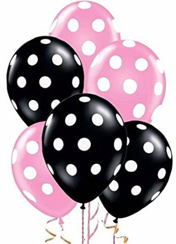 AMFIN Printed 12 Inch Pack Of 50 Pink And Black Polka Dot Balloons