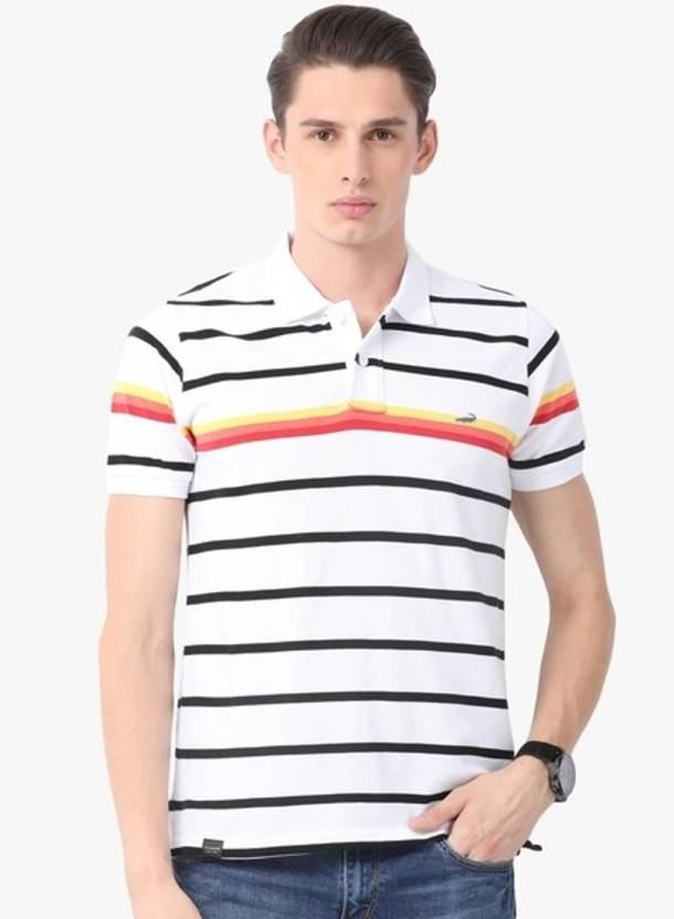 f8bdae15 CROCODILE Striped Men's Polo Neck White T-Shirt - Buy CROCODILE Striped  Men's Polo Neck White T-Shirt Online at Best Prices in India | Flipkart.com
