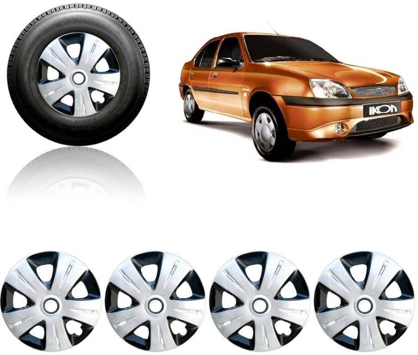 Auto Pearl Premium Quality Car Full Caps Silver Black 13 Inches