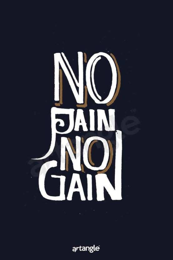 No Pain No Gain Poster Paper Print Quotes Motivation Typography