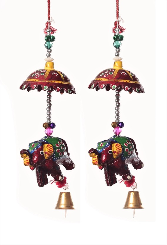Elephant Bell Decorative Hanging Layer Set of 6 Green