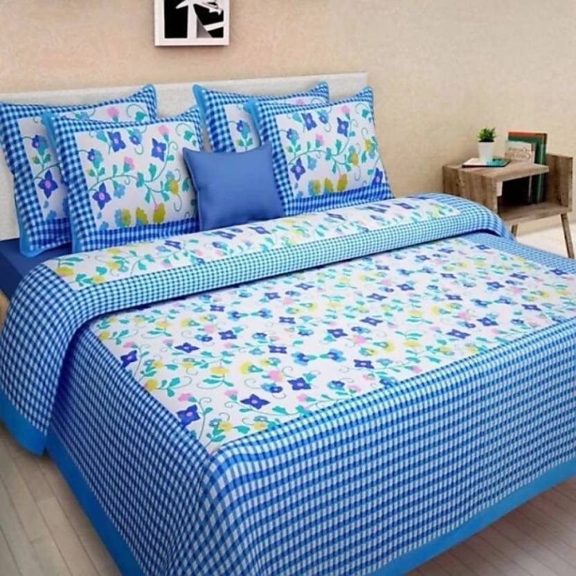 3621e5f168 Jaipuri cotton 151 TC Cotton Double King Floral Bedsheet (Pack of 1,  Multicolor)