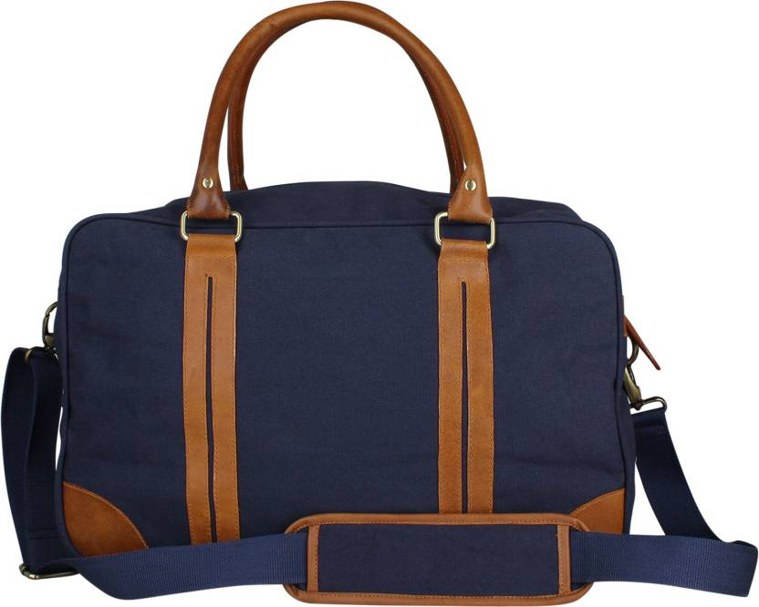 dbb290a058ae Zobello 17 inch 43 cm Genuine Leather Dyed Canvas Duffle Bag Travel Duffel  Bag (Blue)