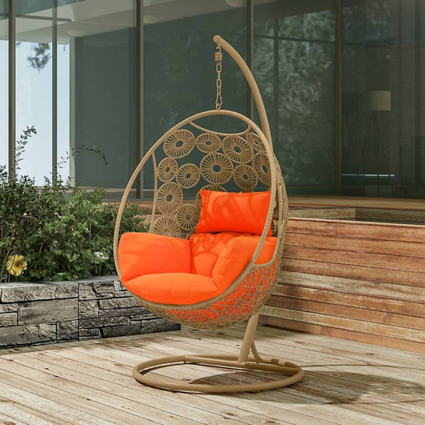 Urban Ladder Kyodo Swing Chair With Stand Colour Orange