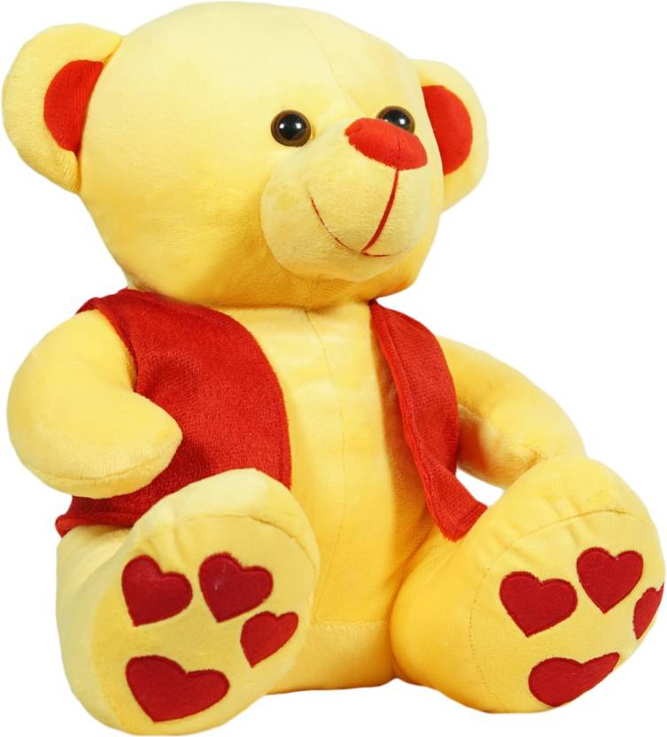 Ultra Yellow Teddy Bear With Red Jacket 12 Inch Yellow Teddy