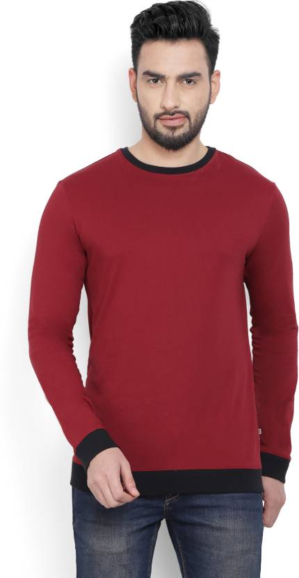 Billion PerfectFit Solid Men Round Neck Maroon T-Shirt