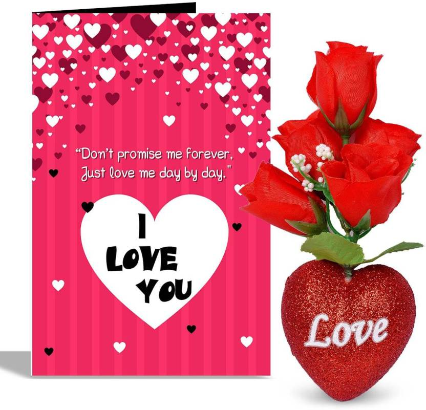 Alwaysgift I Love U Valentines Day Greeting Card With 5 Roses Heart