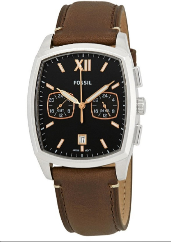 fossil fs5356 fossil knox dual time men\u0027s black dial leather band