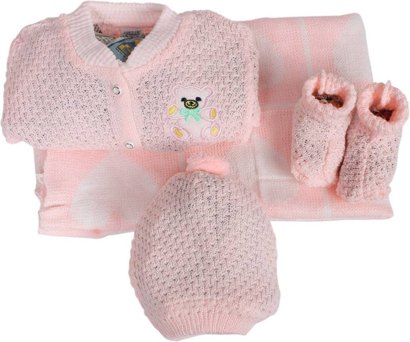 49f1cef45 Babies Bloom New Born Pink Crochet Baby Blanket Set