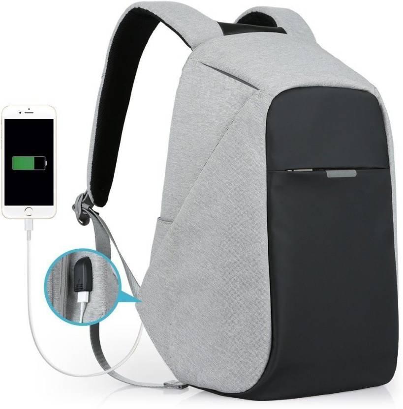 VibeX ® Anti-Theft Cut Casual Travel Work Laptop Smart Backpack USB Port  Water Repellent Waterproof Multipurpose Bag (Grey
