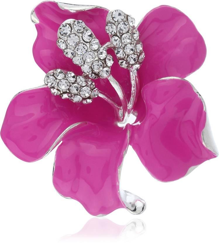 7be0c6cfbbd Fasherati Classic Crystal Rhinestone Pink Enamel Lily Flower Brooch (Pink)