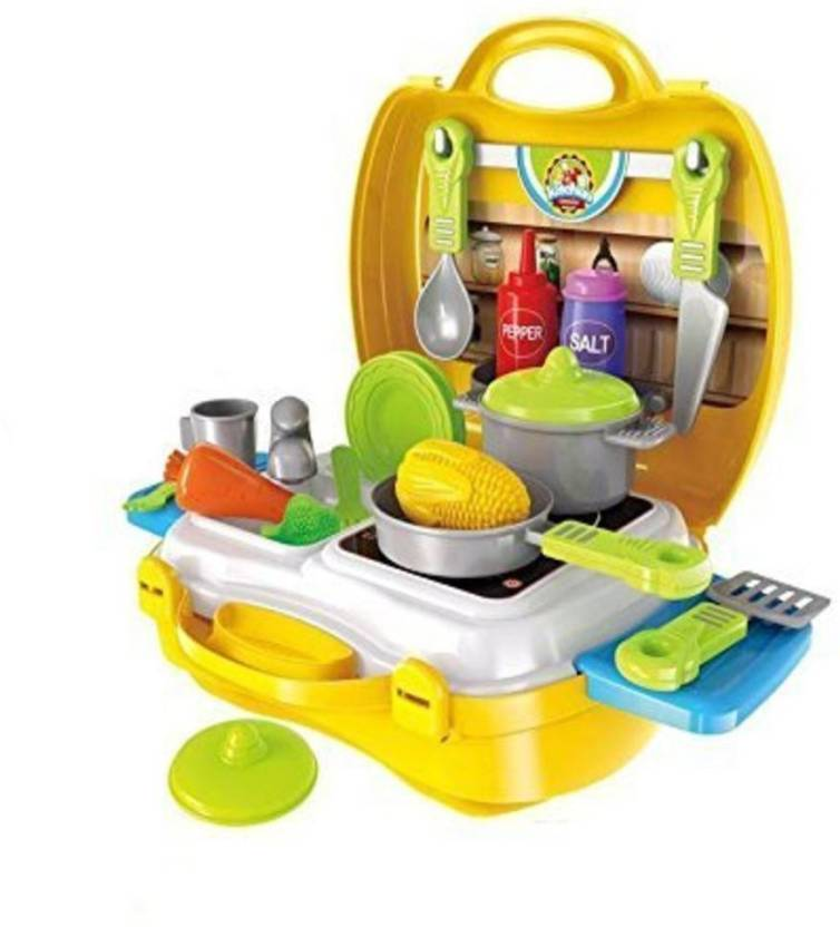 Sajani Attractive Dream Kitchen Set Cooking Pretend Play Toys For Kids Yellow