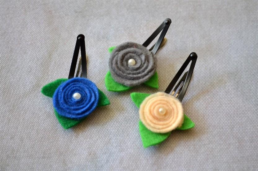 girl hair accessories green pearl flower hair clip