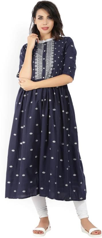513e44ead Vishudh Women s Printed A-line Kurta - Buy NAVY BLUE SILVER Vishudh ...