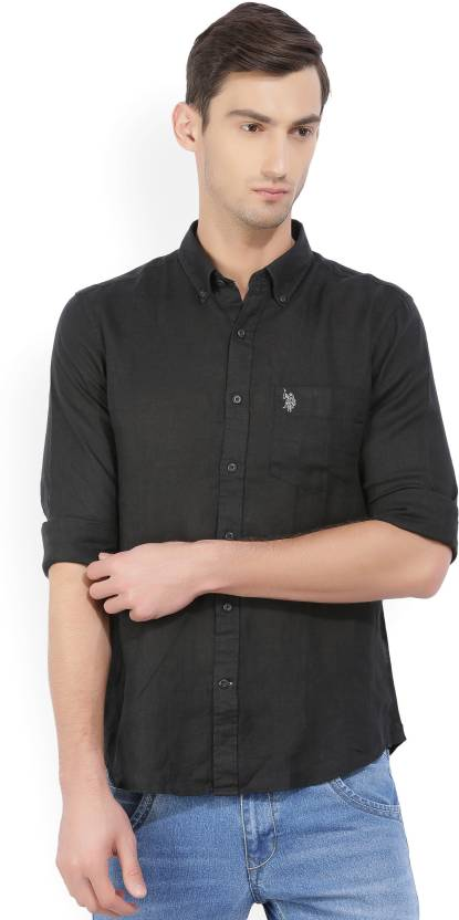 fd55065aed8 U.S. Polo Assn Men Solid Casual Black Shirt - Buy Black U.S. Polo Assn Men  Solid Casual Black Shirt Online at Best Prices in India