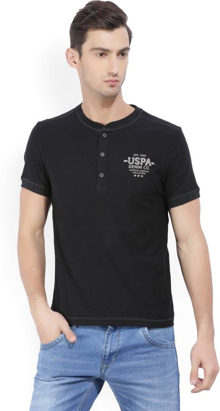 218a24114 U.S. Polo Assn Solid Men s Henley Black T-Shirt - Buy Black U.S. Polo Assn  Solid Men s Henley Black T-Shirt Online at Best Prices in India