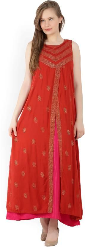 8f011c07aca Global Desi Women s Maxi Orange Dress - Buy RUST Global Desi Women s ...