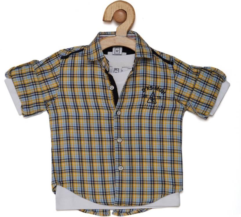 887cafed5cb1 OKS mini Baby Boys Checkered Casual Spread Shirt - Buy OKS mini Baby ...