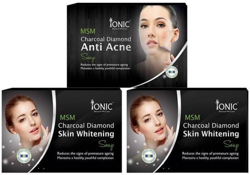 Ionic Combo pack of 3 Soap(Pack of 2 Charcoal Skin whitening & Anti