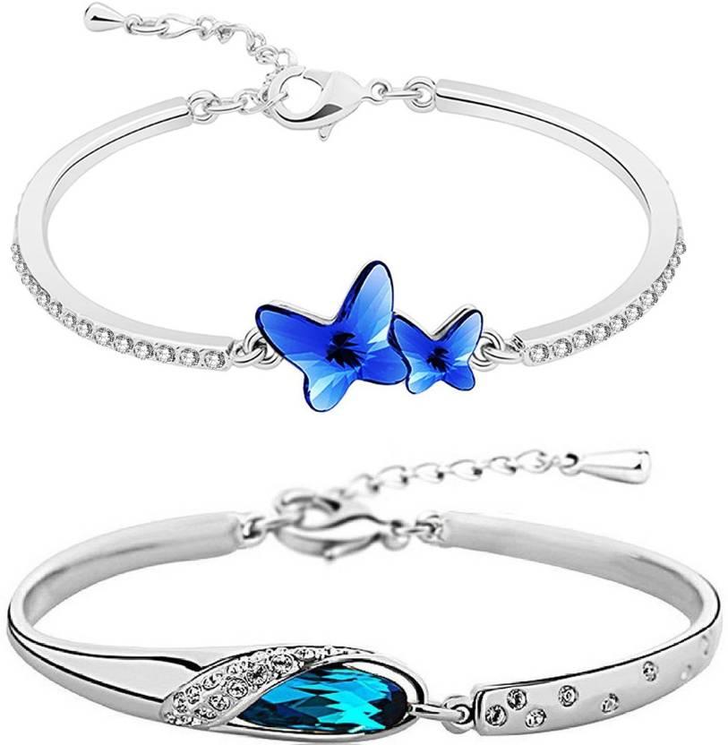 b4424afb4b72d2 Om Jewells Alloy Crystal Rhodium Bracelet Set Price in India - Buy ...