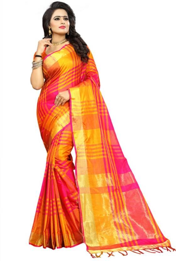 6c1360637 Buy V J Fashion Checkered Fashion Art Silk Orange, Yellow Sarees ...