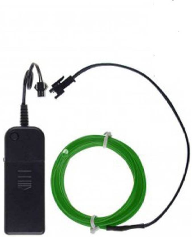 Autotrends 2m Green Flexible El Wire String Light Lamp With 3v Aa Battery Inverter Box Car Fancy Lights
