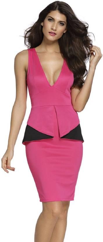 Kaamastra Womens Peplum Pink Black Dress Buy Kaamastra Womens