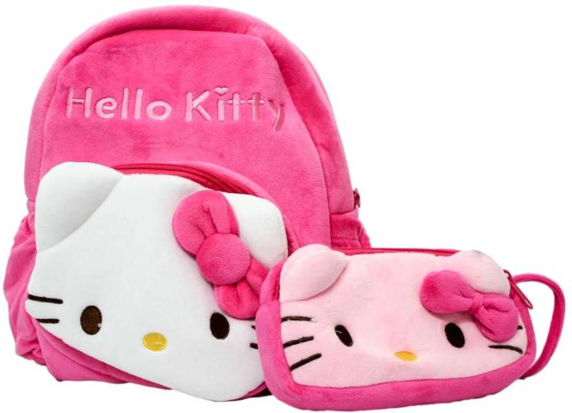 cb5be85938 Shopkooky Supersoft Cute Lightweight Soft Cartoon Hello Kitty Bag and Pouch  Combo Specially Designed For Kids To Carry Their School Stuff School Bag  (Pink