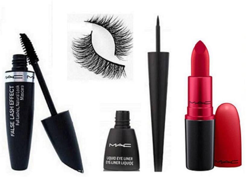 8c1e930f3df Imported combo Of Eyelashes,Mac False Lash Effect Mascara nd Eyeliner &  Matte Lipstick (Set of 4)