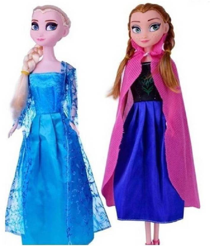 055df9f5e2 M-Alive Frozen Beautiful Princess Dolls Anna and Elsa Set of 2 (Multicolor)