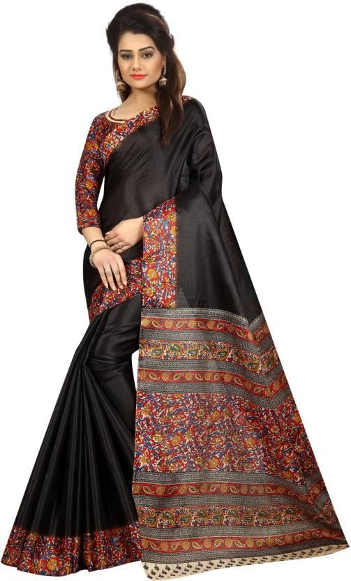 8203625ef98424 Buy C J 129 Self Design Kalamkari Cotton Black Sarees Online @ Best ...