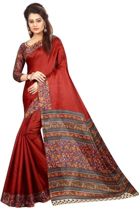3fea0bf76a1ff6 Buy C J 129 Self Design Kalamkari Cotton Maroon Sarees Online @ Best ...