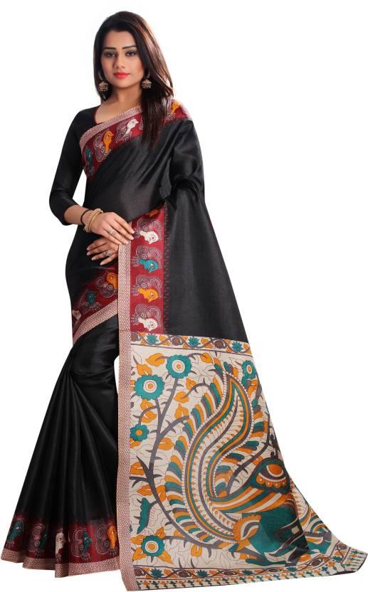 3dc04773b25f8a Buy C J 129 Floral Print Kalamkari Cotton Silk Black Sarees Online ...