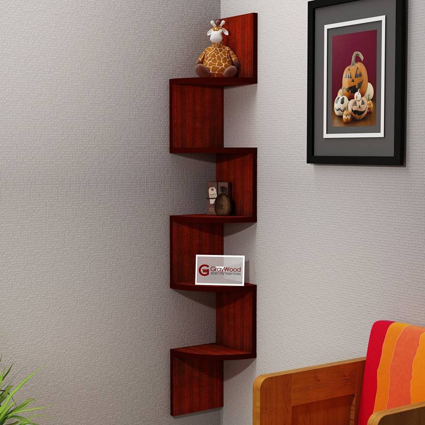 Driftingwood Corner Zigzag Mounted Floating 5 Rack Shelves Shelf